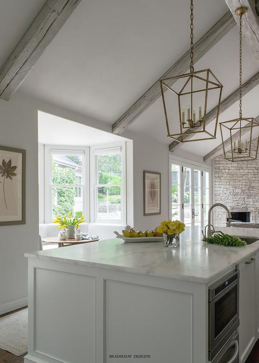 Vaulted Kitchen Ceiling Gray Rustic Wood Beams Lindsay