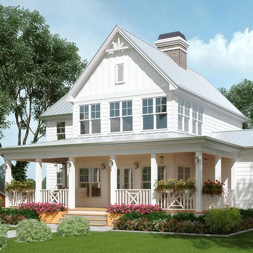 Exploring farmhouse style home exteriors lindsay hill for Farmhouse two story house plans